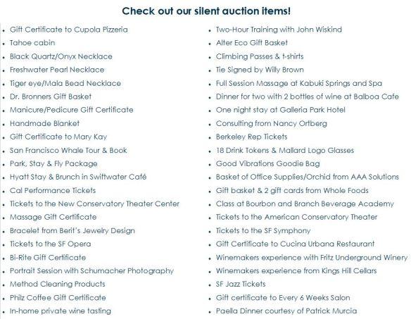 Silent Auction Items.9.18.13