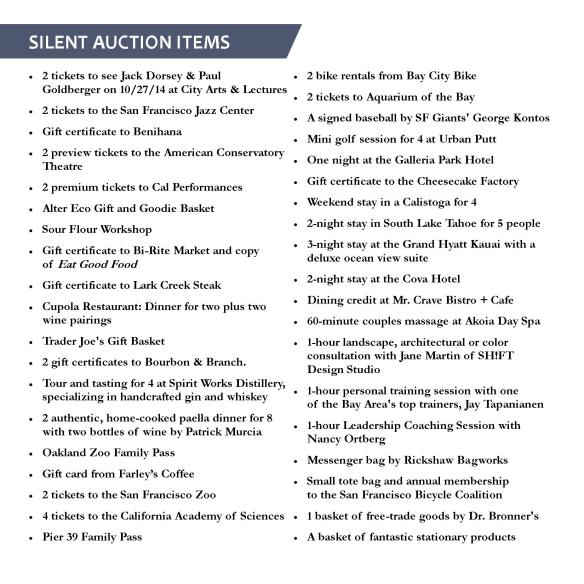 Silent auction list for web