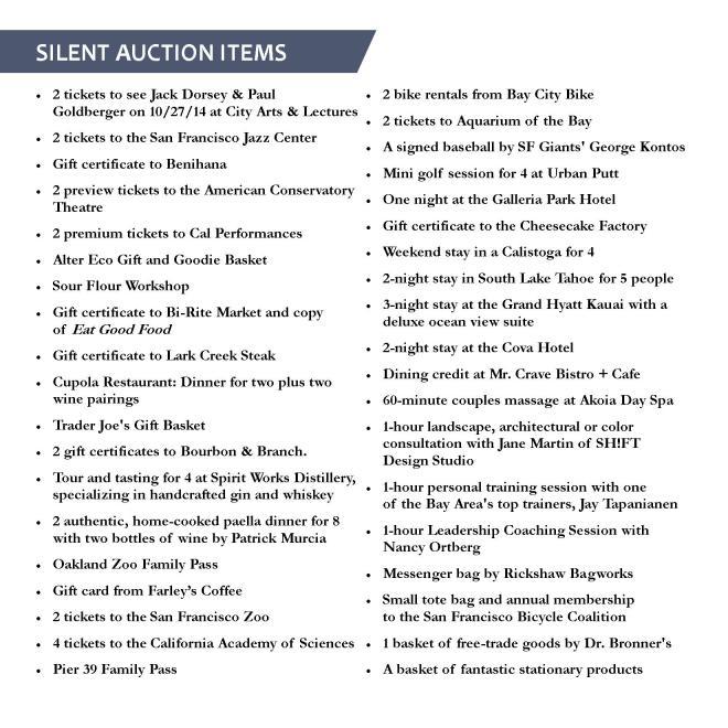 Silent auction list for web